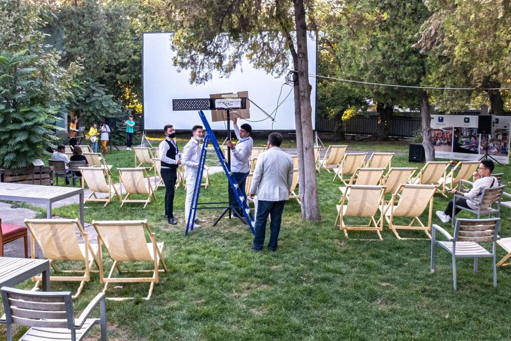 The team setting up for the outdoor cinema showings